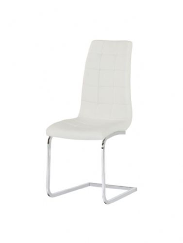Aracelli Square Stitch Padded Designer Dining Chair - White
